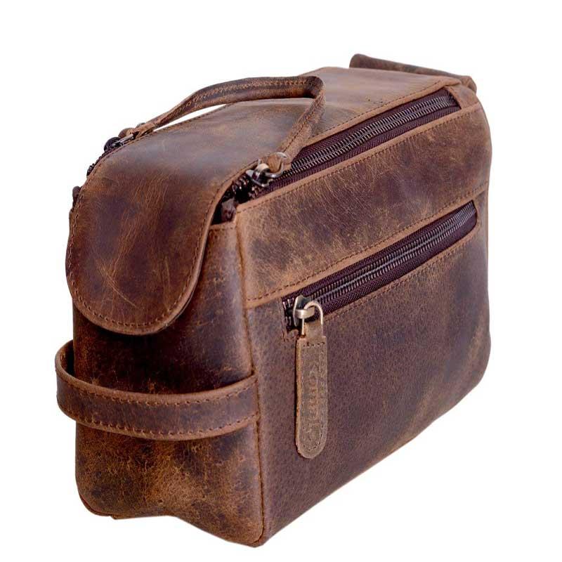 2.-KOMALC-Genuine-Buffalo-Leather-Unisex-Toiletry-Bag-Travel-Dopp-Kit